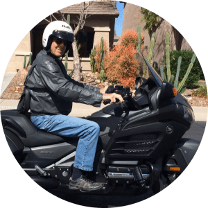 Tom Crittenden riding his motorcycle